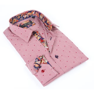 Dolce Guava Men's Red Patterned Button-down Shirt