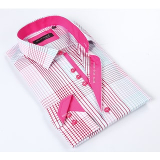 Dolce Guava Men's Pink Patterned Button-down Shirt
