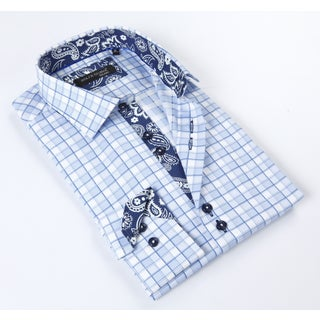 Dolce Guava Men's Light Blue Patterned Button-down Shirt