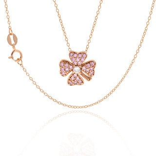 Sterling Silver Rose Gold Plated Cubic Zirconia Four Leaf Clover Necklace