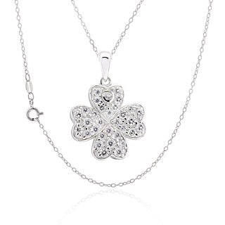 Sterling Silver Round Cubic Zirconia Four Leaf Clover Necklace