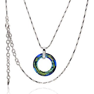 Sterling Silver Round Austrian Crystal Necklace