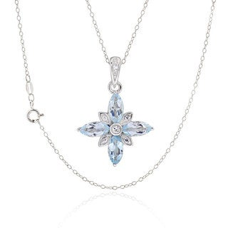 Sterling Silver Marquise Blue Topaz Necklace