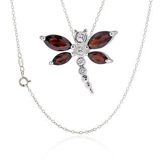 Sterling Silver Marquise Garnet Dragonfly Necklace (China)