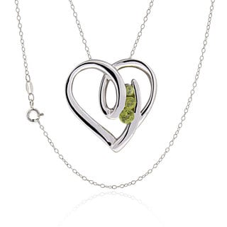 Sterling Silver Round Peridot Heart Necklace