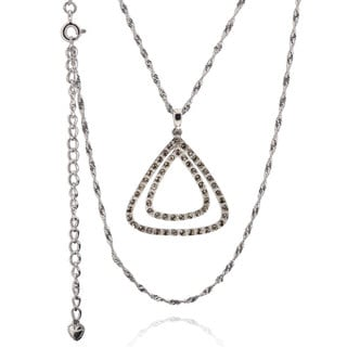 Sterling Silver Austrian Crystal Triangle Necklace