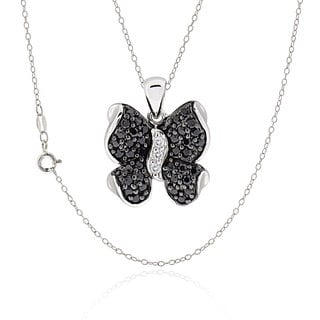 Sterling Silver Round Cubic Zirconia Butterfly Necklace
