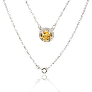 Sterling Silver Round Citrine Necklace