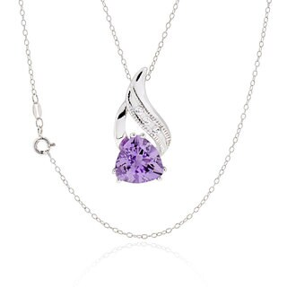 Sterling Silver Trillion Amethyst Necklace