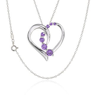 Sterling Silver Round Amethyst Heart Necklace
