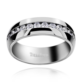 Men's Titanium Cubic Zirconia Comfort Fit Domed Band Ring