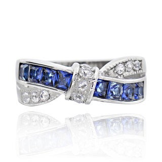 Stainless Steel Princess-cut Tanzanite Cubic Zirconia X Ring (China)