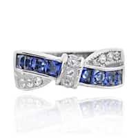 Stainless Steel Princess-cut Tanzanite Cubic Zirconia X Ring (China)