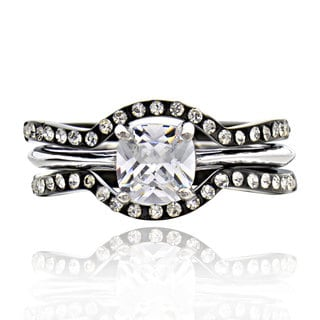 Stainless Steel Cubic Zirconia 3-piece Bridal Ring Set