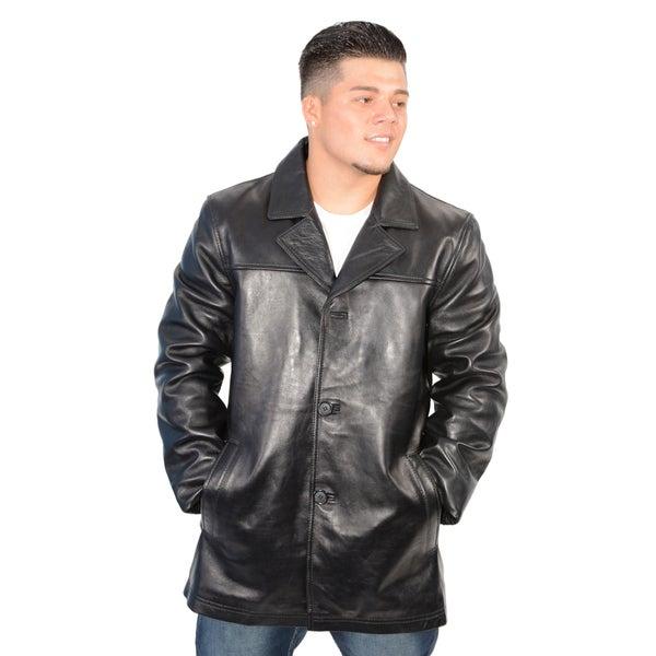 Men's Black Lambskin Leather Classic Four Button Jacket