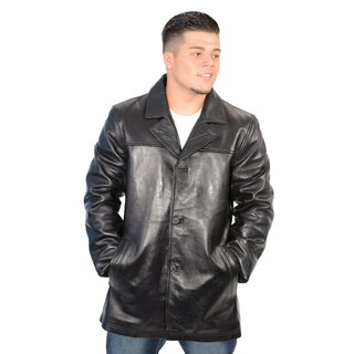 Men's Black Lambskin Leather Classic Four Button Jacket