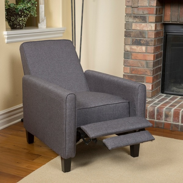 darvis smokey grey fabric recliner club chair by christopher knight home