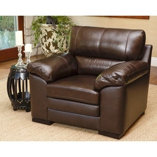 Abbyson Concord Brown Top Grain Leather Armchair