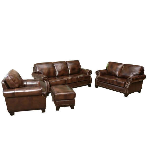 Abbyson Erringer 4 Piece Top Grain Leather Set Free Shipping Today 17677746