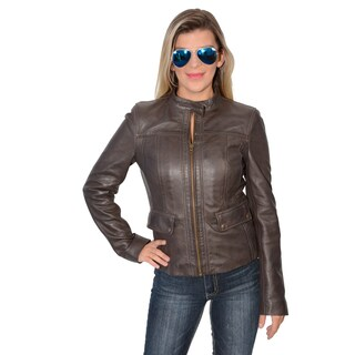 Women's Lambskin Leather Scuba Jacket (Option: Brown)