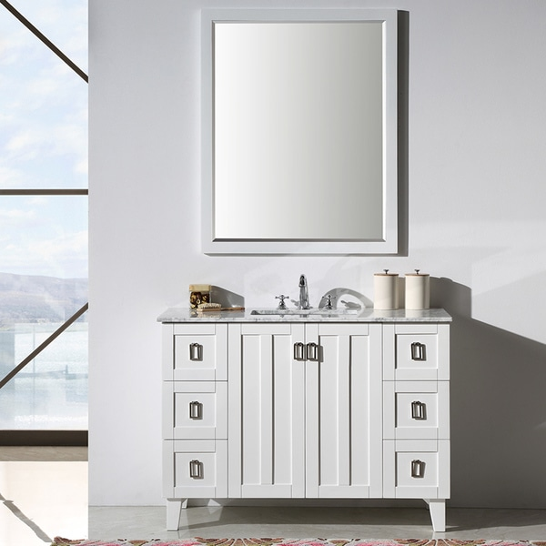 Shop contemporary style 48 inch carrara white marble top for 48 inch mirrored bathroom vanity