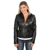 Women's Lambskin Leather Hooded Scuba Drawstring Jacket