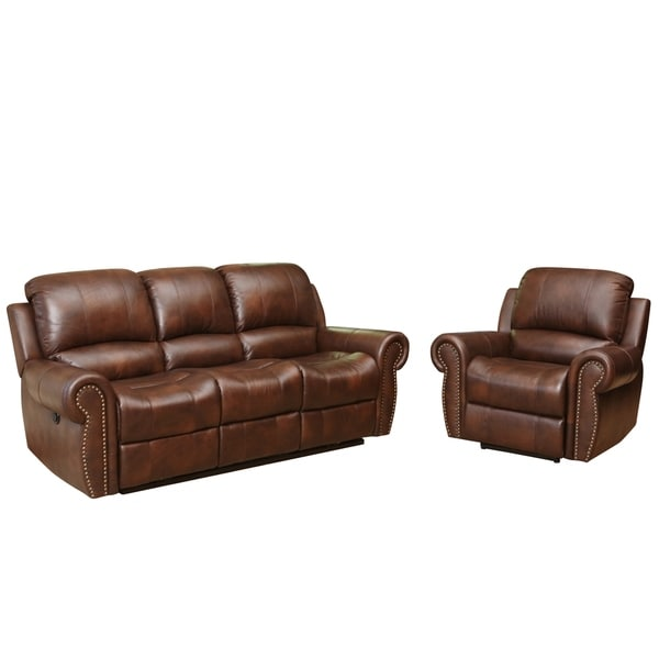 Abbyson Sterling Top Grain Leather Power Reclining Sofa