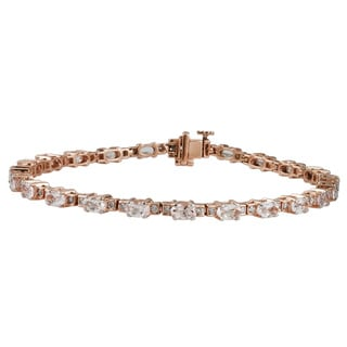 Divina 10k Rose Gold 1 1/6 TDW White Diamond Morganite Gemstone Bracelet (G-H, I1-I2)