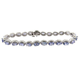 Divina 10k White Gold 1 1/6ct TDW White Diamond and Tanzanite Gemstone Bracelet (G-H, I1-I2)
