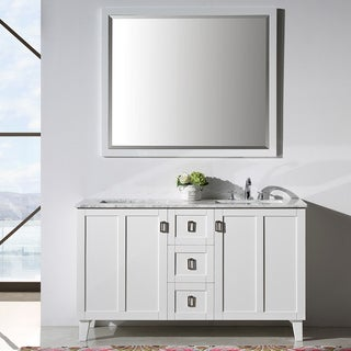 Contemporary Style 60-inch Marble Top Double Sink Bathroom Vanity in White Finish with Mirror