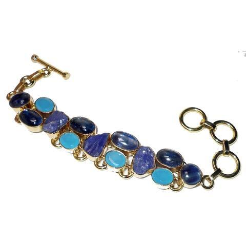 Gold Overlay Kyanite, Tanzanite, Chalcedony Bracelet (India) - Blue