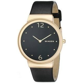 Skagen Women's SKW2370 'Freja' Black Leather Watch|https://ak1.ostkcdn.com/images/products/10605760/P17677802.jpg?impolicy=medium