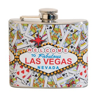 Las Vegas Cards Fun 5-ounce White Party Flask