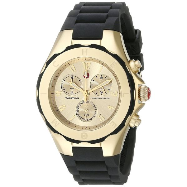 f5b942aff Shop Michele Women's MWW12F000034 'Tahitian Jelly Bean' Chronograph Black  Rubber Watch - Free Shipping Today - Overstock - 10605811
