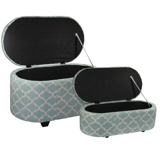 "18.7""H Moroccan Clover Teal Storage Ottoman Set of (2)"