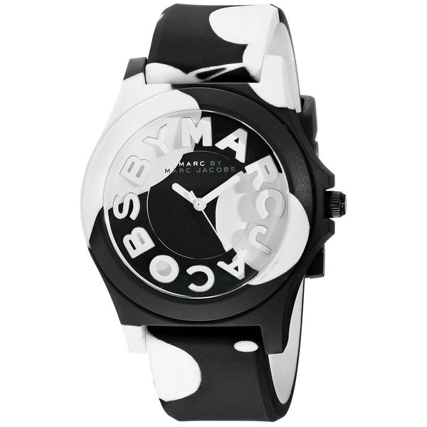 ed4986d8368 Shop Marc Jacobs Women s  Sloane  Black and white Silicone Watch ...