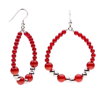 Sterling Silver 8mm Coral Beaded Dangle Earrings