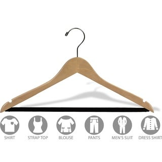 Natural Finish Notched Wooden Suit Hanger with Non-slip Bar (Case of 50)