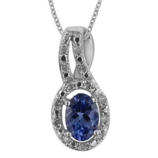 Divina 10k White Gold 5/8ct TDW White Diamond and Tanzanite Gemstone Pendant (G-H, I1-I2)