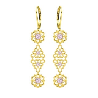 Lucia Costin Sterling Silver, Lilac Crystal Earrings