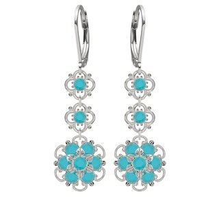 Lucia Costin Silver, Turquoise Austrian Crystal Earrings