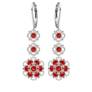 Lucia Costin Silver Red Austrian Crystal Flower Earrings