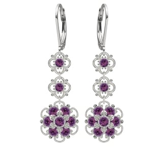 Lucia Costin Sterling Silver Violet Austrian Crystal Earrings