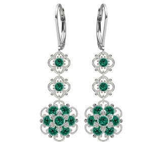 Lucia Costin Sterling Silver Green Austrian Crystal Earrings