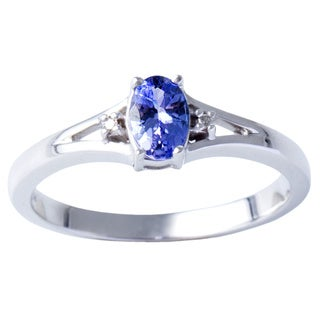 H Star Sterling Silver Tanzanite Diamond Accent Ring (H-I, I1-I2)