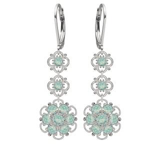 Lucia Costin Sterling Silver Mint-blue Austrian Crystal Earrings