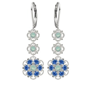 Lucia Costin Sterling Silver Mint and Blue Crystal Earrings