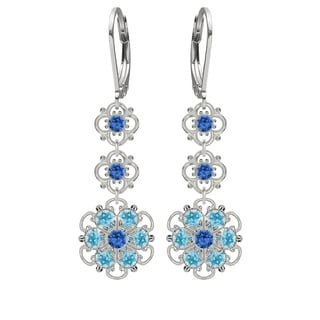 Lucia Costin Sterling Silver Blue and Light Blue Austrian Crystal Earrings