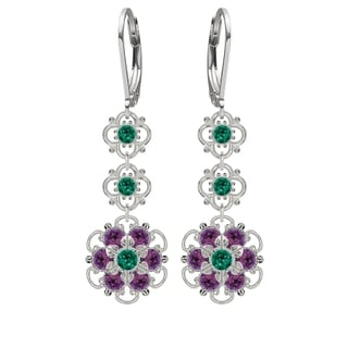 Lucia Costin Silver, Green, Violet Crystal Earrings