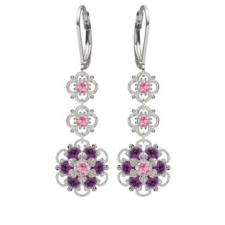 Lucia Costin Silver, Violet, Light Pink Crystal Earrings